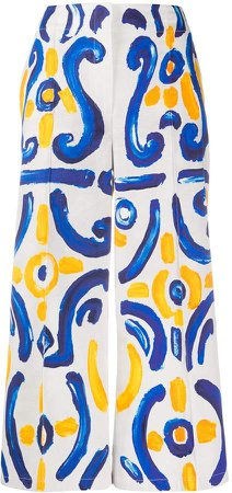 Tile Print Wide-Leg Trousers