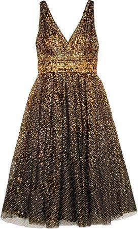 Gathered Metallic Sequined Tulle Midi Dress