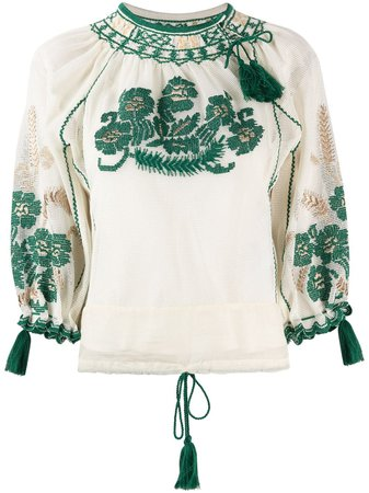 RED Valentino tassel-trim Embroidered Blouse - Farfetch