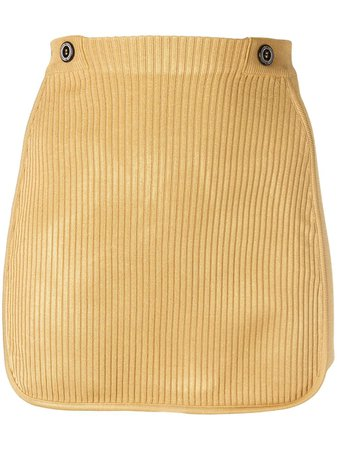 Shop gold Gcds ribbed mini skirt with Express Delivery - Farfetch