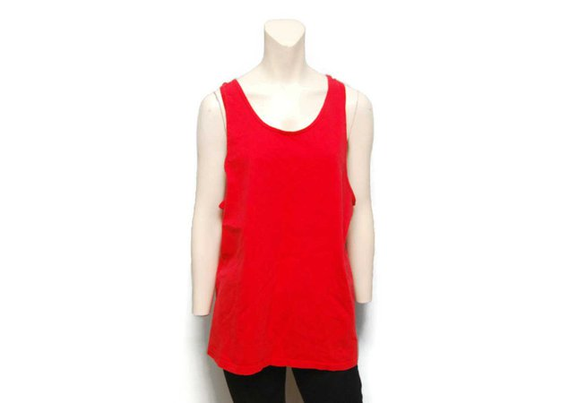 Vintage 1980's Basic Red GAP Tank Top Size Large Wide