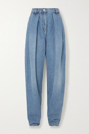 Pleated High-rise Tapered Jeans - Light blue