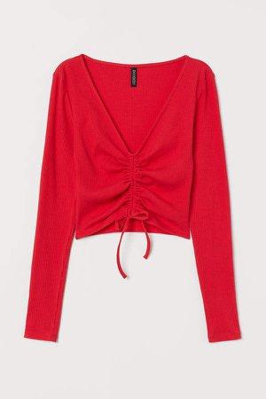 Drawstring Jersey Top - Red