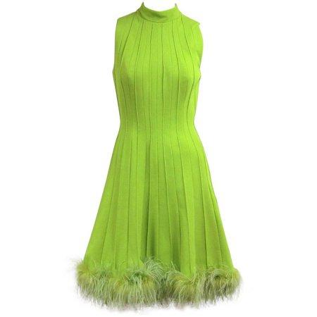 Vintage 1960s Green Knit Ostrich Feather Dress Joseph Magnin