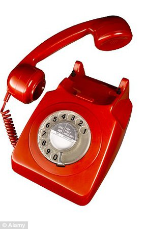 red landline old fashioned phone