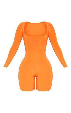 Shape Orange Slinky Square Neck Unitard | PrettyLittleThing USA