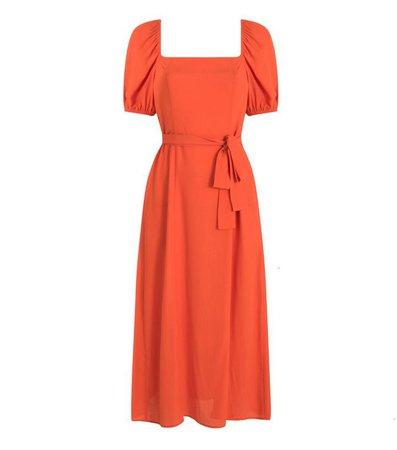 Bright Orange Square Neck Belted Midi Dress | New Look