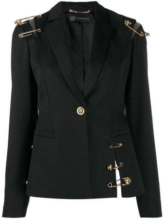 Versace safety pin details blazer - Black
