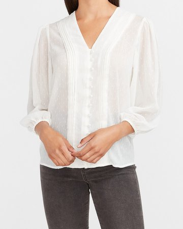 Metallic Pleated Button Front Shirt