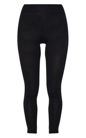 Basic Black High Waisted Jersey Leggings   PrettyLittleThing