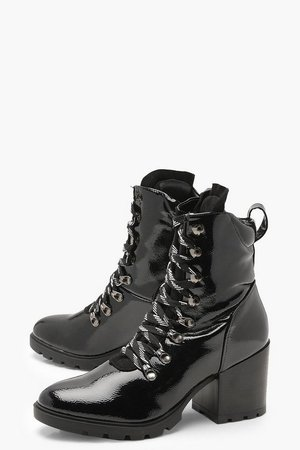 High Patent Chunky Hiker Boots | boohoo
