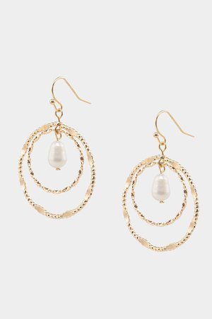 Mary Pearl Textured Circle Drop Earrings | francesca's