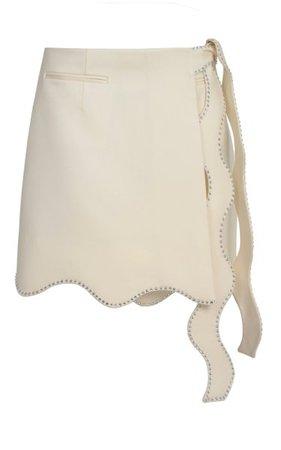 Wavy Tie-Detailed Wool Mini Skirt By Mach & Mach   Moda Operandi