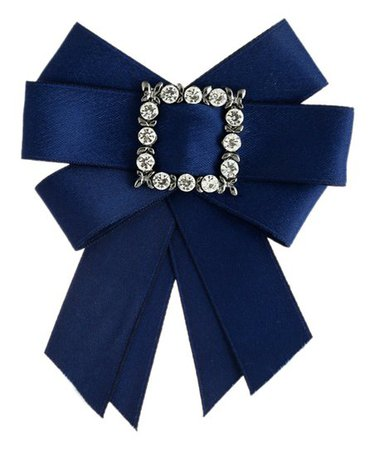 Ella & Elly Rhinestone & Navy Ribbon Bow Brooch