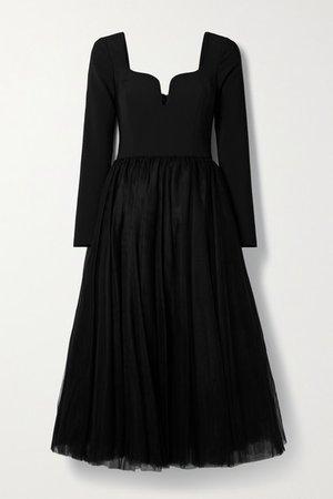 Crepe And Tulle Midi Dress - Black