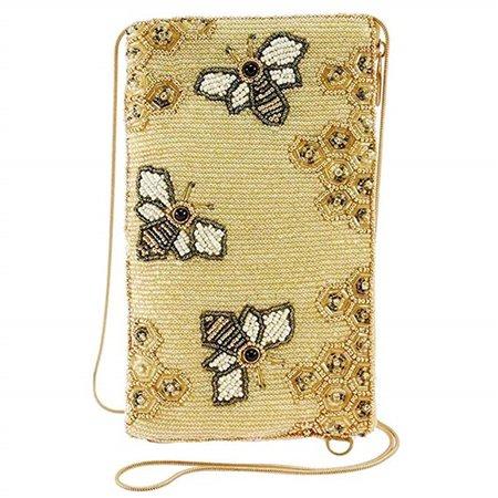 Mary Frances Oh Honey Bee Hive Beaded Phone Crossbody, Gold