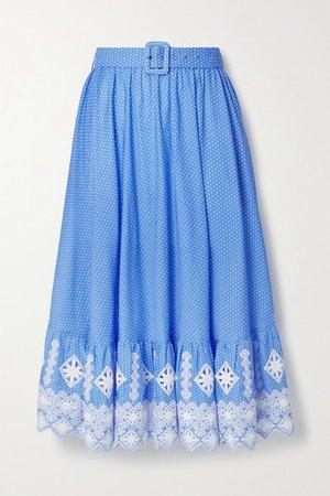 Debbie Embroidered Polka-dot Cotton-poplin Midi Skirt - Blue