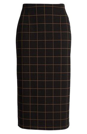 Halogen® Windowpane Ponte Pencil Skirt black