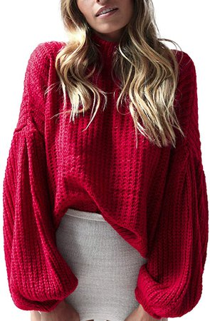 Simplee Women's Casual Long Sleeve Loose Pullover Knit Sweater Jumper Top, Red, One Size at Amazon Women's Clothing store