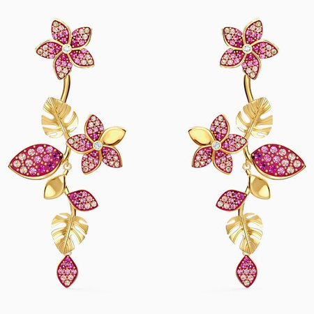 tropical-flower-pierced-earrings--pink--gold-tone-plated-swarovski-5520648.png (600×600)