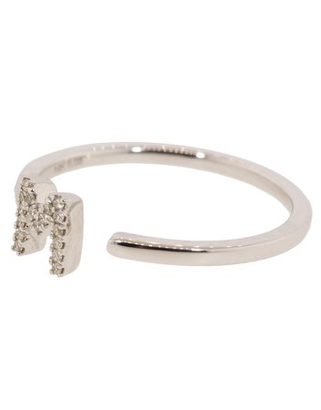 M Diamond Pave Initial Ring   Marissa Collections