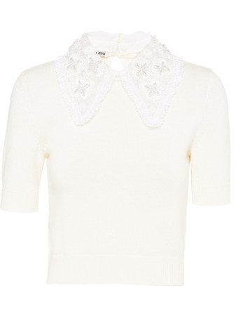 Miu Miu, Lace Collar Knitted Top