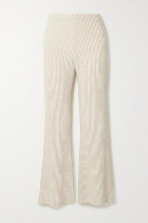 Net Sustain Ribbed-knit Flared Pants - Ecru
