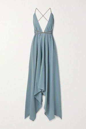 Light blue + NET SUSTAIN Yatzil asymmetric leather-trimmed cotton-gauze maxi dress | Caravana | NET-A-PORTER