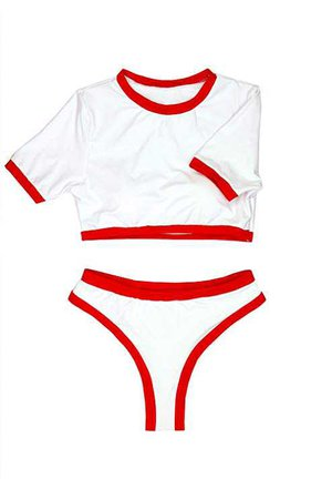 Amazon.com: ioiom Bikini Swimsuit for Women Crewneck Short Sleeve Crop Top High Waist Sporty Swim Outfit Rash Guard Wine L: Clothing