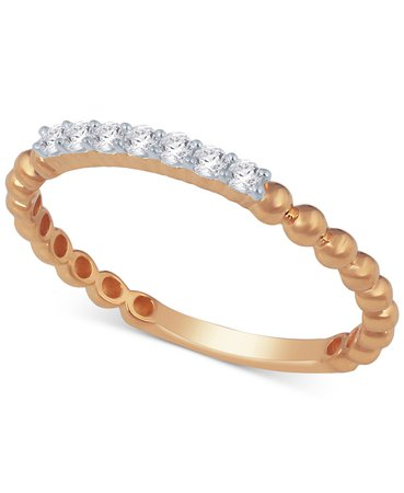 Macy's Diamond Stackable Beaded Band (1/8 ct. t.w.) & Reviews - Rings - Jewelry & Watches - Macy's