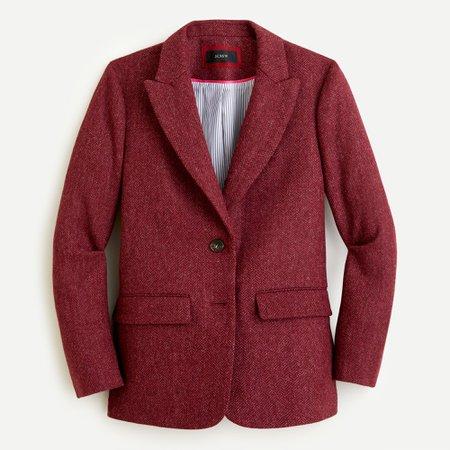 J.Crew: Boyfriend Blazer in burgundy herringbone English wool