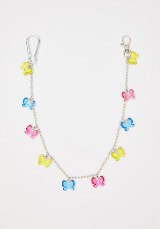 Delias Butterfly Belt Chain Rainbow | Dolls Kill