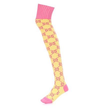 Knitted cotton-blend socks
