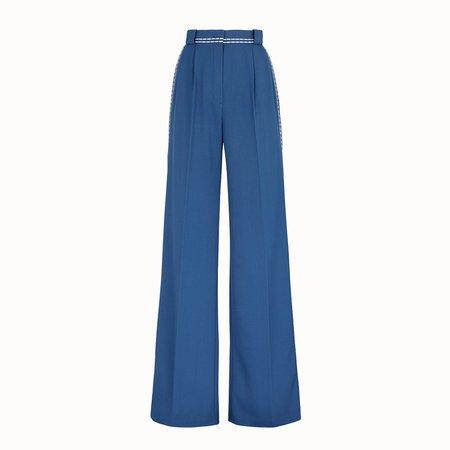 Blue wool trousers - TROUSERS   Fendi