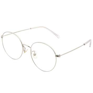 Cyxus Retro Round Blue Light Filter Glasses Vintage Anti Eyestrain Redness Metal Frame