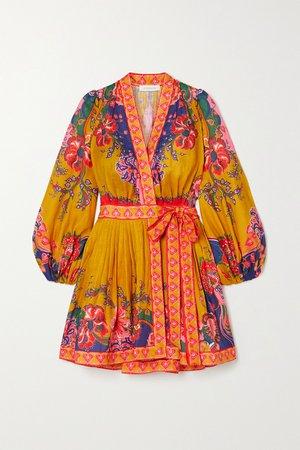 Mustard The Lovestruck printed linen wrap mini dress | Zimmermann | NET-A-PORTER