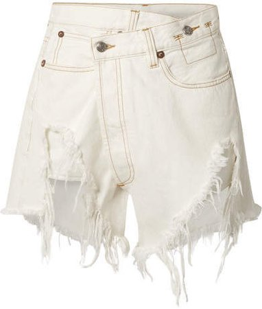 Distressed Denim Wrap Shorts - White