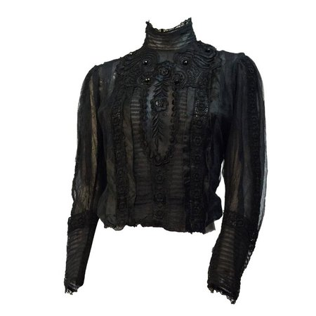 Edwardian Black Mesh Embroidered Blouse with Black Silk Embroidery and Jet Beads For Sale at 1stdibs