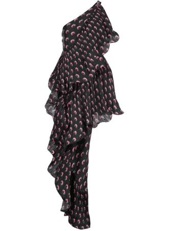 Marine Serre Asymmetric Hybrid Flamenco Dress In Black | ModeSens