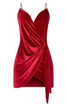 Burgundy Strappy Velvet Wrap Detail Bodycon Dress | PrettyLittleThing