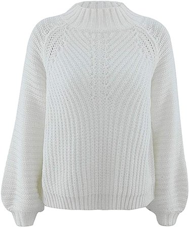 BerryGo Chunky Crewneck Sweaters Long Sleeve Oversized Cable Knit Sweater Yellow at Amazon Women's Clothing store