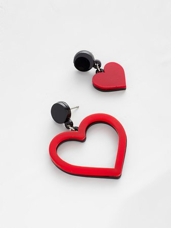 Two Tone Heart Design Mismatched Earrings