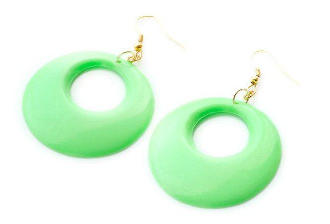 Mod earrings 60s hoop earrings Neon Green earrings Mod | Etsy