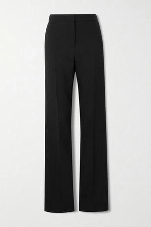 Wool-blend Straight-leg Pants - Black