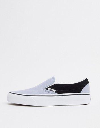Vans Slip-On suede sneakers in blue/black | ASOS