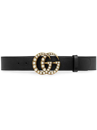 Gucci Leather Belt With Pearl Double G | Farfetch.com