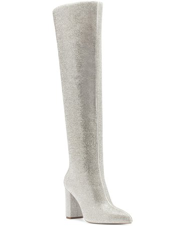 silver INC International Concepts Phebe Over the Knee Rhinestone Boots, Created for Macys & Reviews - Boots - Shoes - Macy's