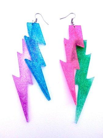 Glitter lightning bolt earrings spring colors glitter | Etsy