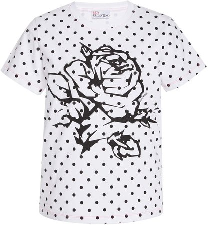 Red Valentino Polk Dot Printed Jersey T-Shirt