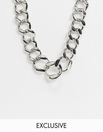 Reclaimed Vintage inspired chunky chain necklace in silver | ASOS